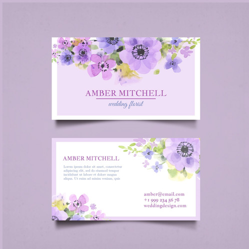 Business card with pretty watercolor flowers are cards bearing business information about a company or individual they are shared during formal