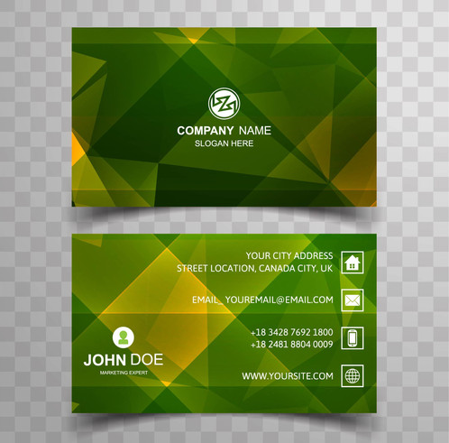 Geometric green business card template gontobbo organization geometric green business card template are cards bearing business information about a company or individual they are shared during formal introductions as accmission Image collections