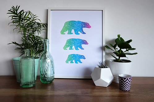 The Three Great Bears Print - Galaxy Colours - A2