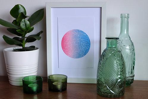 Constellation Print - Pink & Blue - A5