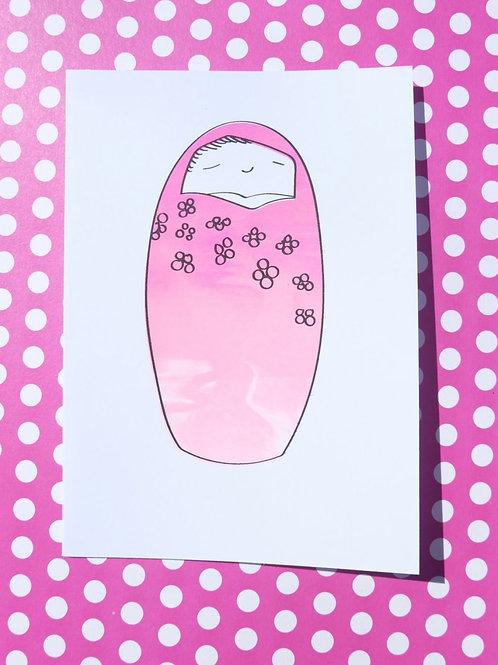 Japanese Doll Greetings Card