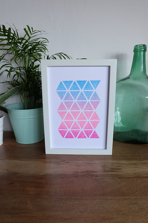 The Sky at Night Triangle Print - Pink & Blue - A4