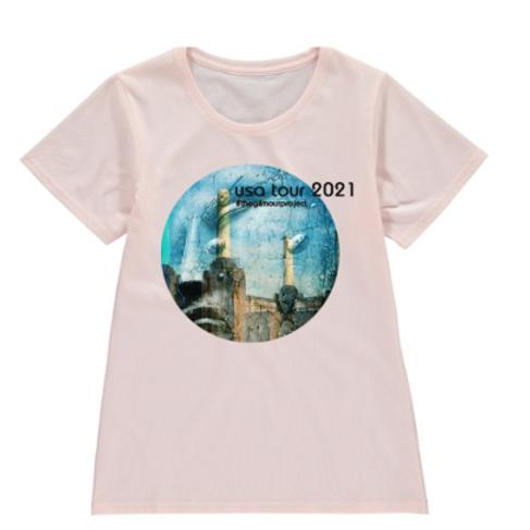 Ladies pink-melange T-shirt