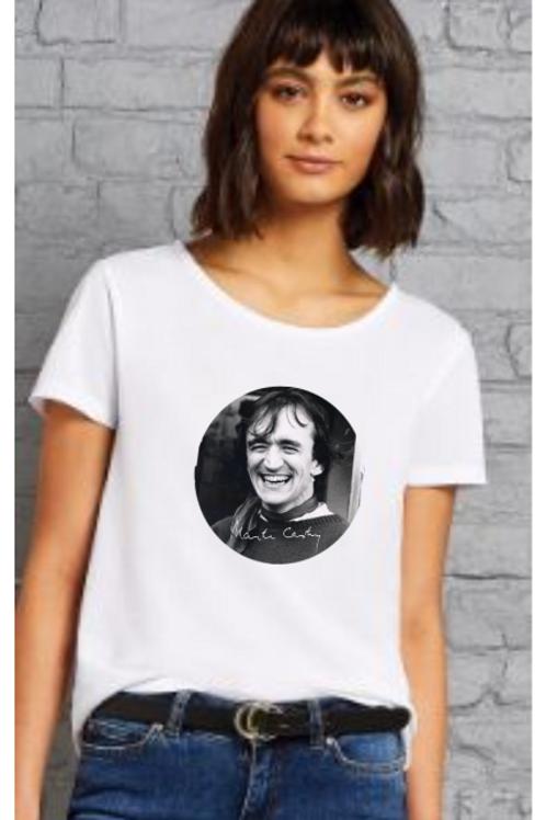 Ladies White T-shirt - B&W Photo
