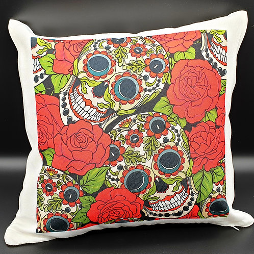Skull and Roses Cushion Cover