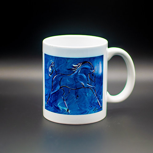 White 15oz JUMBO mug 'Blue Horse'