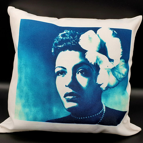 Blue Billie Holiday Cushion Cover