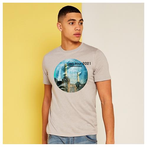 Men's silver-melange T-shirt
