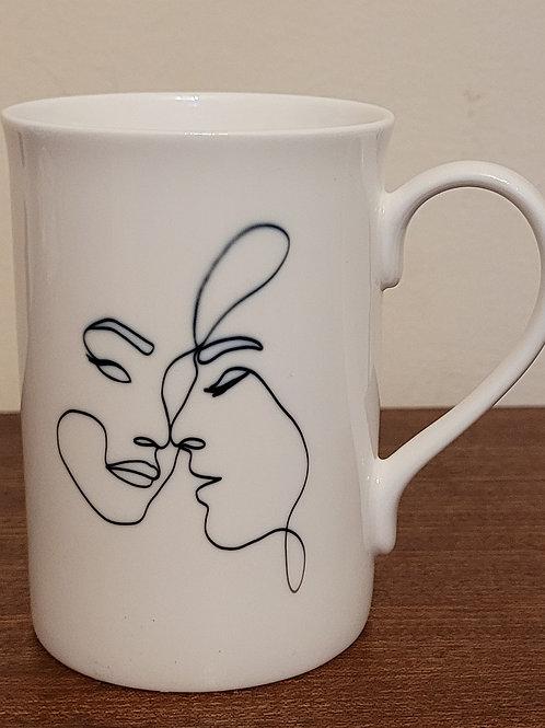 Bone China line drawing mug
