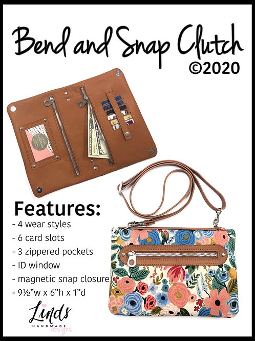Bend and Snap Clutch PDF Sewing pattern, 4 in 1 purse, diy clutch, small crossbo