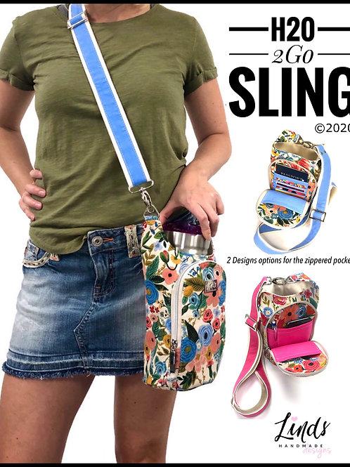 H20 2GO Sling PDF sewing pattern, waterbottle holder, beverage purse, linds hand
