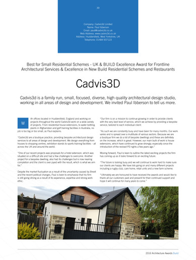 Build Architecture Awards 2016 (Cadvis3D