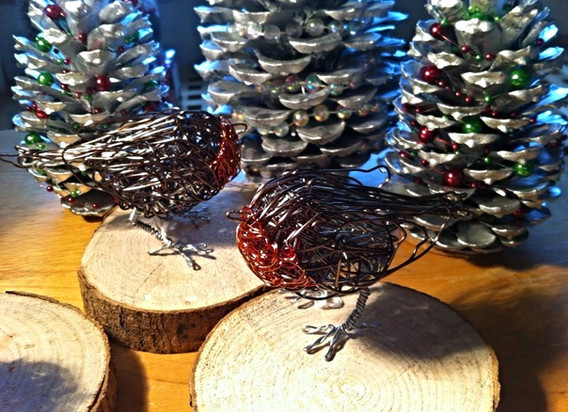 Wirework Christmas robins