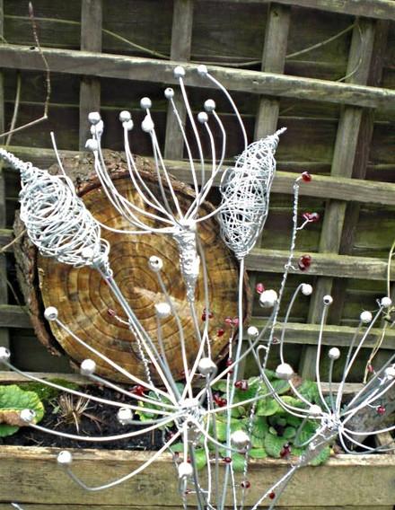 Wirework Flower Spray with Bullrush