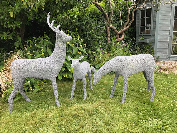 Wirework Stag, doe and fawn trio