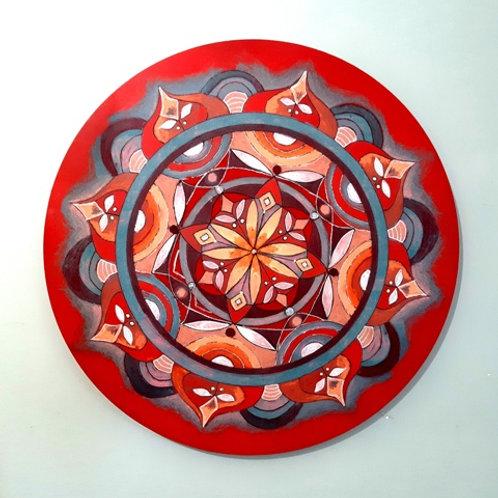 מנדלה עגולה בצבע אדום-חמרה