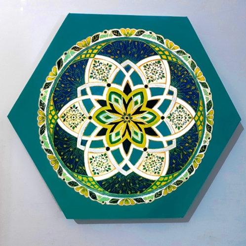מנדלת משושה בצבעי טורקיז