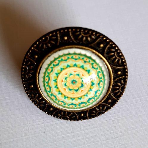 טבעת מנדלה בצבע לבן- ירוק