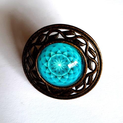טבעת מנדלה בצבע טורקיז עץ החיים