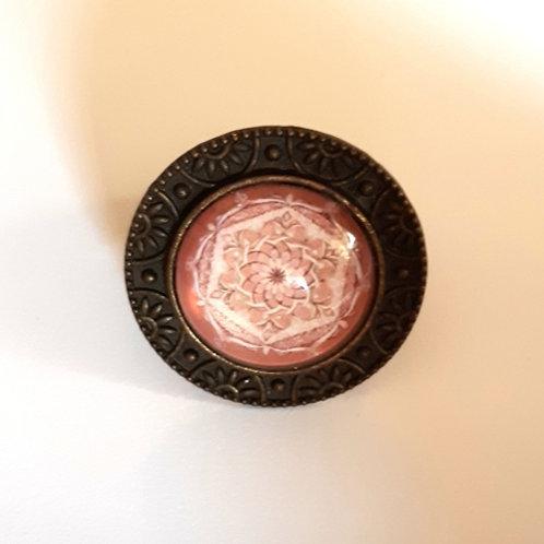 טבעת מנדלה בצבע ורוד עתיק