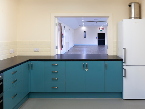 Serving hatch from the kitchen through to the hall