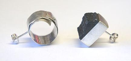 black tourmaline druzy silver odd earrings