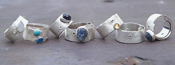 Handmade rings with semi precious stones