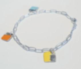 handmade silver charm bracelet with enamel charms