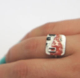 red enamel ring with rivet, sterling silver