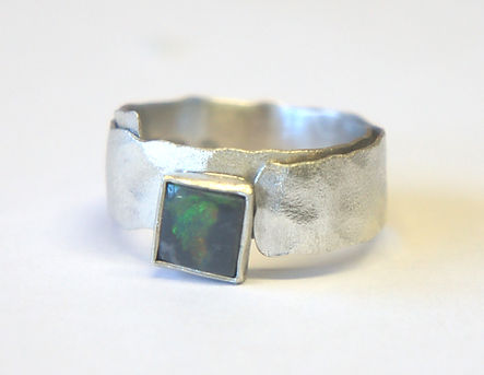Opal textured silver ring