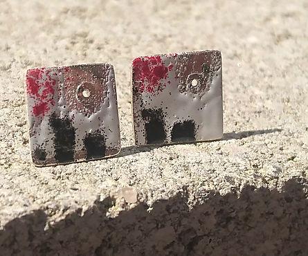 Sterling silver & enamel earrings with rivet