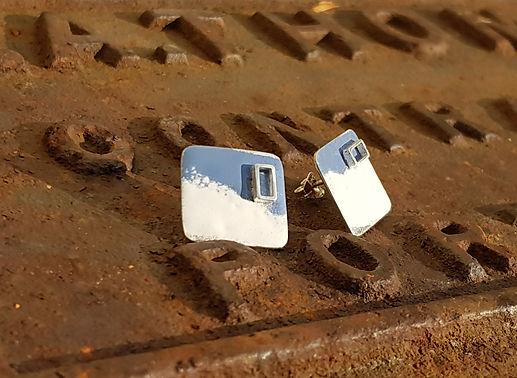 blue & white enamel silver window earrings