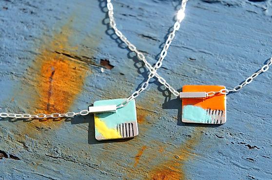 silver & enamel drainpipe necklaces