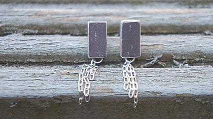 Welsh slate silver earrings