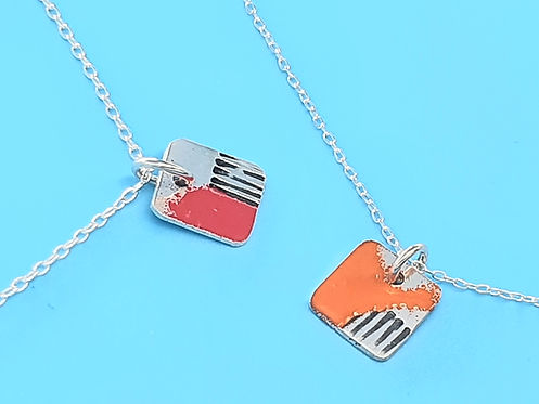 handmade small enamel necklace in sterling silver