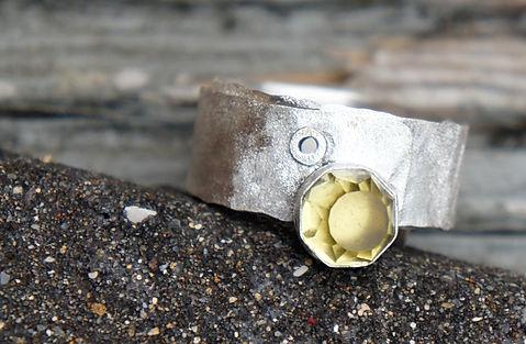 lemon quartz rivet ring