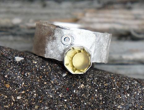 lemon quartz handmade rivet ring in sterling silver