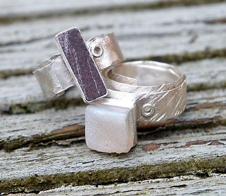 Welsh slate rivet ring, white druzy rivet ring, both handmade in sterling silver