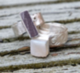 Welsh slate rivet ring & white druzy rivet ring