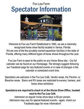 Venice Fl Calendar Of Events 2020.Spectator Information Fox Lea Farm Inc
