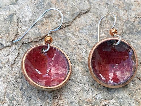 1975 Lincoln Penny Copper Enamel Earrings