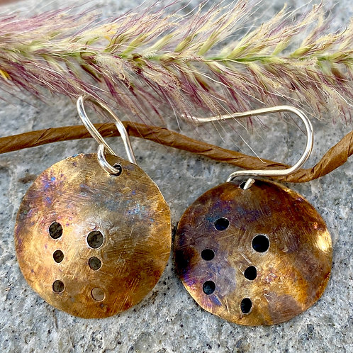 Sterling Silver Circle Earrings  with Patina