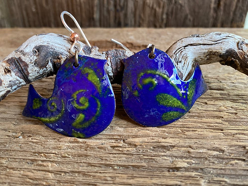 Blue Birds enameled glass on copper