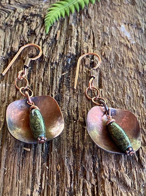Copper and fern green  Lizardite earrings