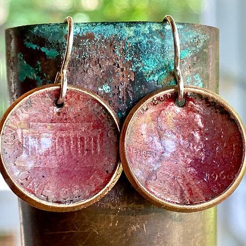 1968 Copper Enamel Earrings