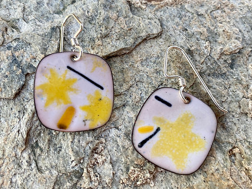 White, Yellow and Black Enameled Earrings