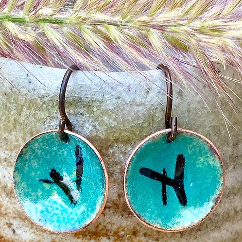 Petite Copper Enamel Disc Earrings