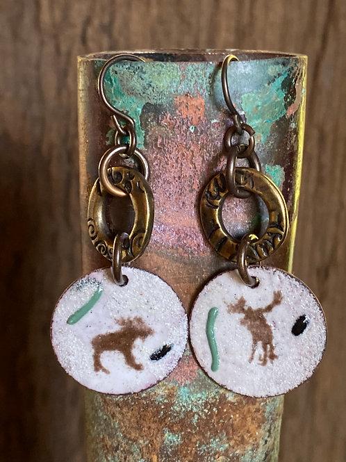 """Moose """"drop"""" earrings in copper enamel"""
