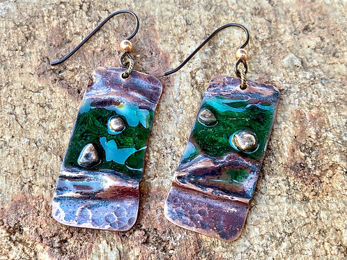 Air Chased Copper Enamel Earrings