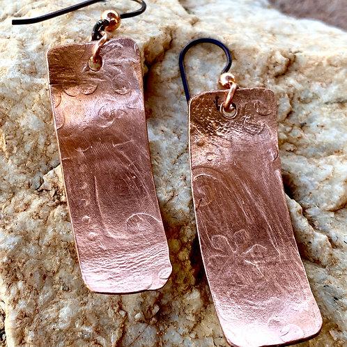 Embossed/textured  Copper Earrings